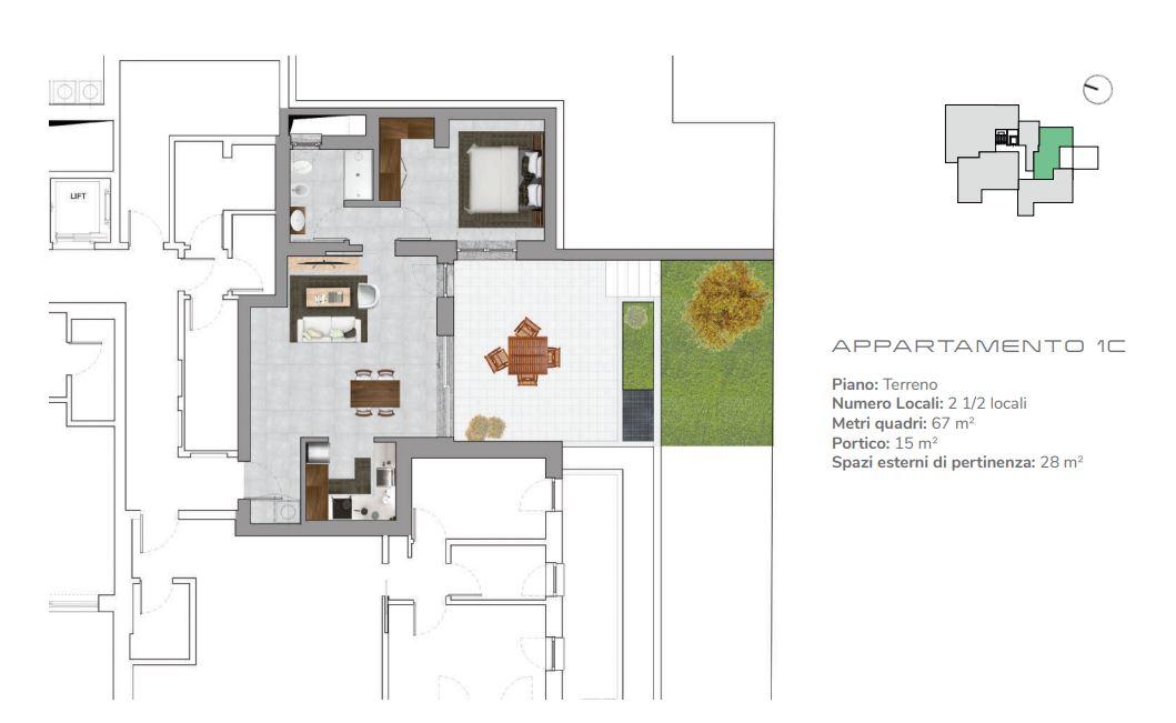 Appartamento 1C di 2.5 locali