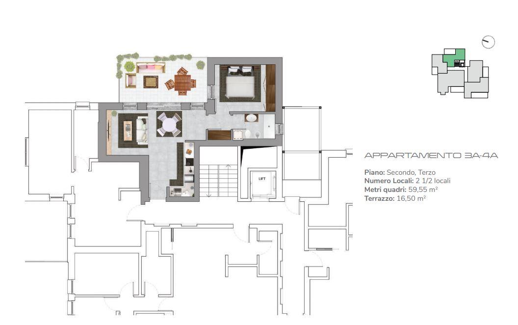 Appartamenti 3A-4A di 2.5 locali