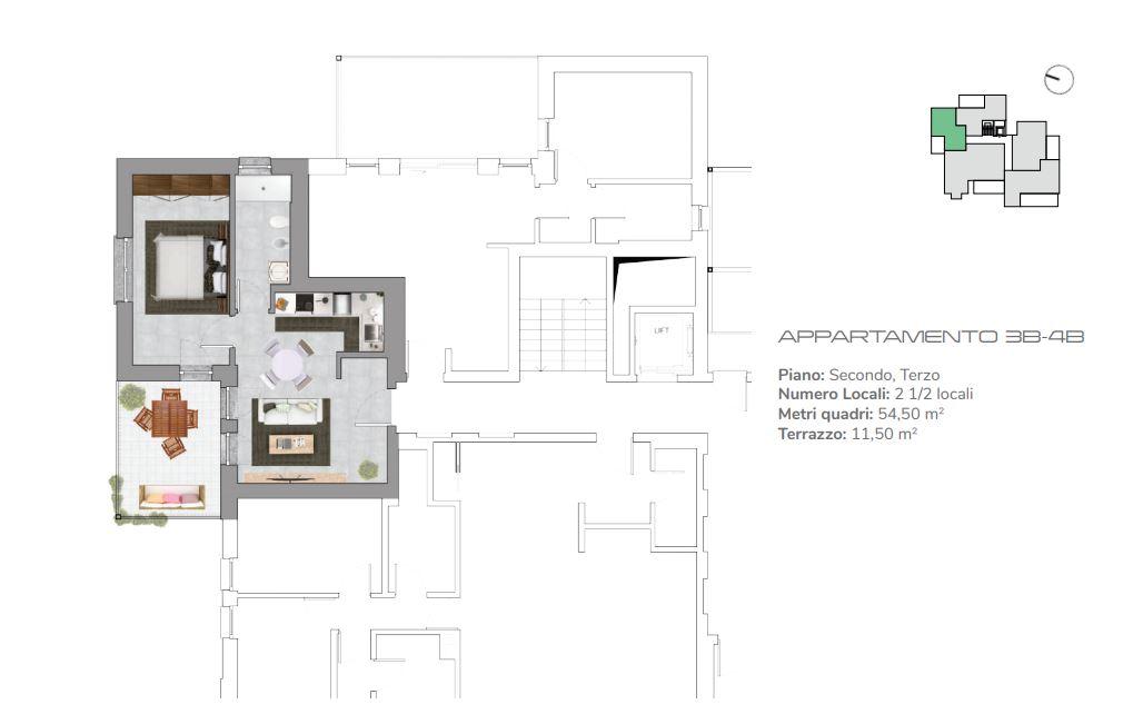 Appartamenti 3B-4B di 2.5 locali