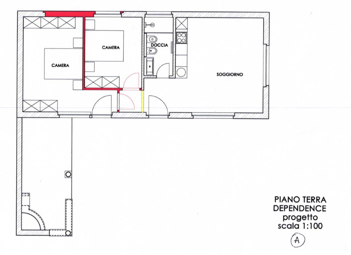 Modifica dependance con aggiunta di due camere senza il garage